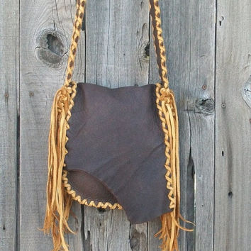 Buckskin possibles bag Fringed leather handbag Tribal crossbody bag Mountain man bag