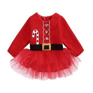 Cute Christmas Princess Toddler Baby Girl Tulle Tutu Dress Party Outfits Costume
