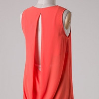 Sleeveless Draped Open Back Blouse - Poppy