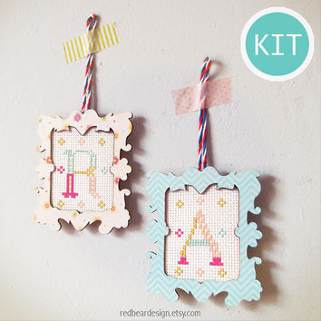 Modern Cross Stitch KIT DIY gift - Wooden Frame with Initial Alphabet -Modern Love cross stitch christmas tag Ornaments gift ideas