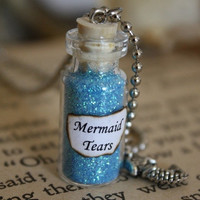 ON SALE Glass Vial Necklace  Mermaid Tears by spacepearls on Etsy