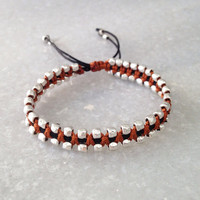 Beaded Macrame Bracelet with Silver Plated Beads, Brown and Black Wrap Hippie Jewelry
