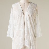 Summer Daydream 3/4 Sleeve Lace Mesh Cardigan in Off-White   Sincerely Sweet Boutique