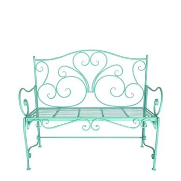 Vintage Garden Bench in Teal
