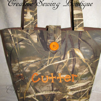 handamade max4 hd camo camouflage hunter orange diaper bag or tote your choice of name