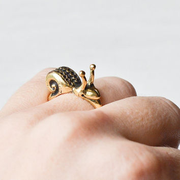 Lovely brass smiling snail ring Bronze snail ring Cute animal brass jewelry Boho style jewelry Romantic gift Original woodland jewelry