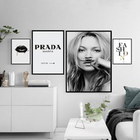 Nordic Fashion Canvas Painting Minimalist Black White A4 Posters and Prints Salon Wall Art Pictures For Living Room Home Decor