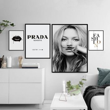Fashion Canvas Painting Minimalist Black White Posters Prints Salon Wall Art Pictures for Living Room Home Decor Drop Shipping