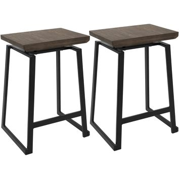 Geo Industrial Counter Stools with Brown Wood Top, Black (Set of 2)