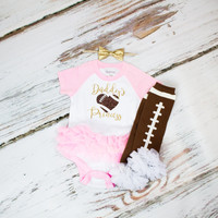 "Baby Girl's Tutu Outfit | ""Daddy's Princess"" Pink and White Short Sleeve Tutu Onesuit 