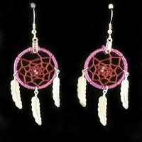 26mm Dream Catcher Earrings - Purple Ring/Burgundy Weave/Silver Toned Feathers