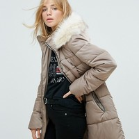 New Look Stone Padded Quilted Short Coat at asos.com