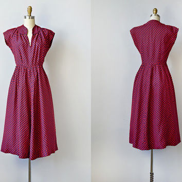 vintage 1940s dress / vintage 40s dress / 1940s 1950s red dress / 40s day dress