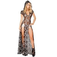 Sexy Galaxy Baby Sequin and Sheer Double High Slit Hooded Dress