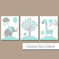 AQUA GRAY Nursery Wall Art, CANVAS or Prints, Baby Girl Nursery Decor, Elephant Giraffe Tree, Jungle Safari Animals, Set of 3 Crib Artwork