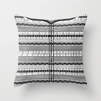 Harry Potter Inspired Tribal Print (Black and White) Throw Pillow by E.M. Blood