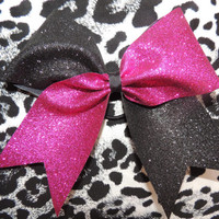 pink and black glitter cheer bow