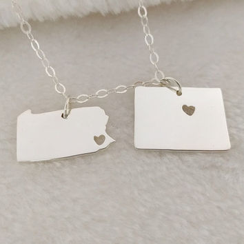 Best Friend Long Distance Necklace,Two States Necklace,Any two state or Country Necklace,Best Friend Birthday Gift,Best Friendship Necklace