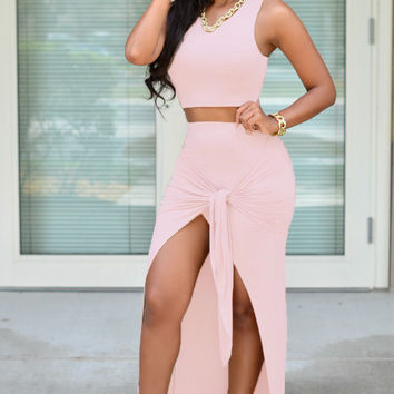 Baby Pink Tie Front Maxi Skirt Set