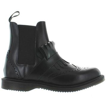 ONETOW Dr. Martens Tina - Black Leather Kilty Wing-Tip Boot