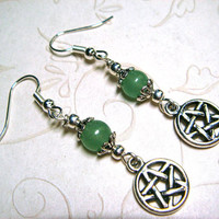 Wiccan Earrings Pagan Jewelry Pentacle Green Aventurine Metaphysical Spiritual Witchcraft Jewelry Handfasting Pentagram Gemstone Earrings