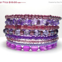 ON SALE Stacked Bracelet Amethyst Purple Memory Wire Beaded Wrap