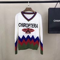 GUCCI : Women Embroidery The butterfly V-Neck Sweater