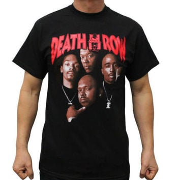 Death Row Records T Shirt men Tupac Dre Poster casual pure cotton tee USA size S-3XL