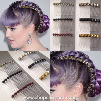 Studded Hair Comb Set - Spikes or Pyramid Stud - SET OF 3