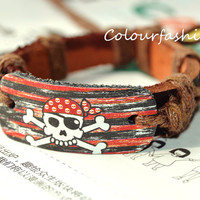 Christmas Gift, Fantasy Halloween Sea Poacher Paint Bracelet, Charm Brown Leather Cuff Adjustable Waxed cotton rope Bracelet