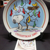 1980 Peanuts Christmas Collector Plate with Box, No. 7374 of 15,000, featuring Snoopy & Woodstock by Charles M. Schulz by Schmid