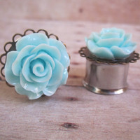 "Pair of Light Blue Rose Plugs on Antique Brass Filigrees - Girly Gauges - 8g, 6g, 4g, 2g, 0g, 00g, 7/16"", 1/2"", 9/16"", 5/8"", 3/4"", earrings"