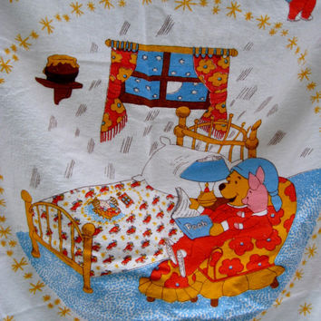 Vintage Winnie the Pooh Piglet Disney Crib Bedding Flannel Fitted Sheet Baby Nursery Decor Boy Girl Kids Craft Fabric Used Clean