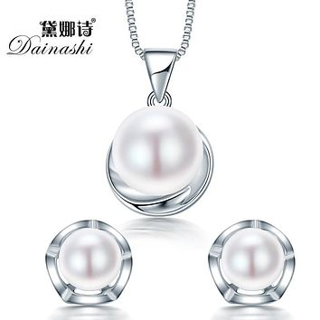 Dainashi Hot Sterling Silver Jewelry Sets Pendant Necklace & Earring 100% Natural Pearl Jewellery sets for Party Women Jewelry