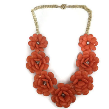 Orange Flower Necklace, Orange Rosette Necklace. J.crew Flower Necklace, J Crew Rose Necklace, Orange Statement Necklace, Orange Bib