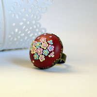 Happy Flower Ring made from Polymer clay with Appliqué Technique