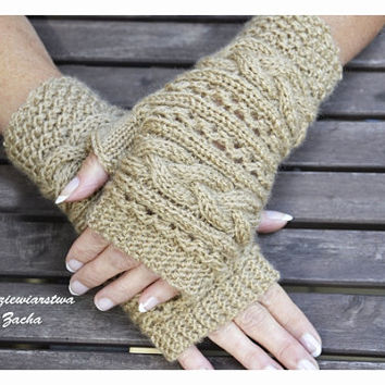 BeigeFingerless mittens , Fingerless mittens ,  gloves, hand knit fingerless mittens , knit gloves