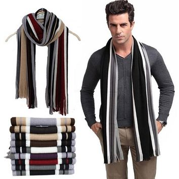 Winter designer scarf men striped cotton scarf female & male brand shawl wrap knit cashmere bufandas Striped scarf with tassels