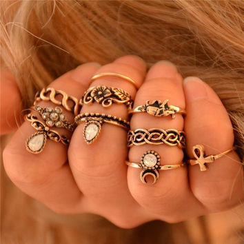 Gypsy Stacking Rings 10 Piece Set Gold White Iridescent Stones Boho Bohemian Every Finger Rings Ankh Elephant Waxing Moon Assorted Sizes