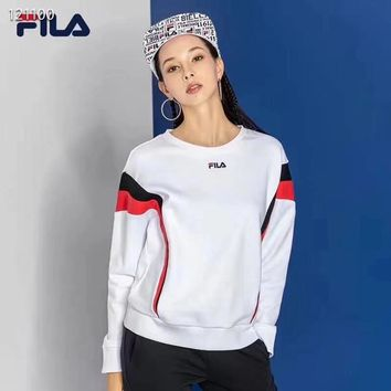 FILA Fashion Casual Long Sleeve Sweater Pullover Sweatshirt