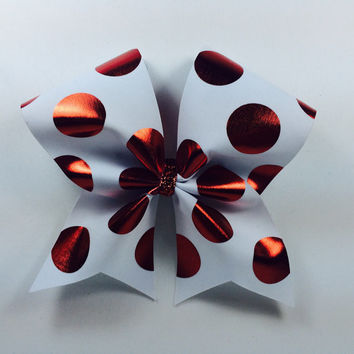 White and Red Dot Cheer Bow