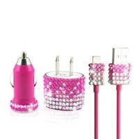 iPhone 6 iPhone 5/5S Fade Glitter Bling Rhinestone Charger Set (Pink)