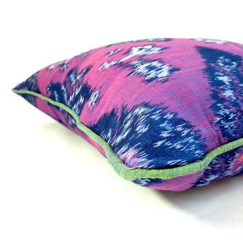 "18"" Bali Ikat throw pillow cover, purple with green piping, ""purple beetle"""