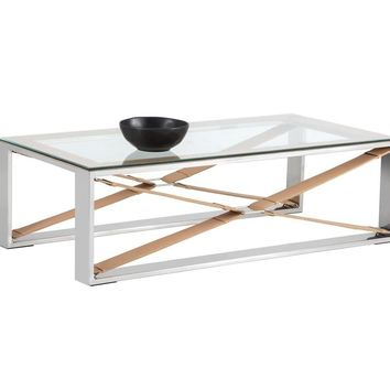MAVI POLISHED STAINLESS STEEL-TAN LEATHER FRAME WITH TEMPERED GLASS TOP COFFEE TABLE