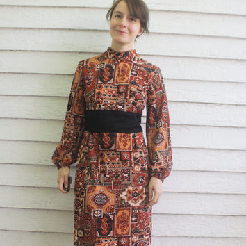 Hippie Mod Dress 70s Print Matching Long Vest Vintage S