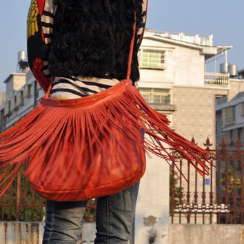 Boho Chic Leather Fringe Bag Handmade Shoulder Bag-Vintage Red Color