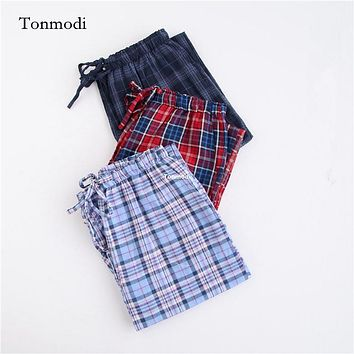Trousers Men 100% Cotton Gauze Plaid Long pants Men spring and autumn thin trousers Sleep Bottoms plus size XL