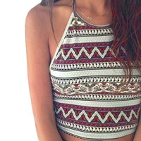 High-Neck Halter Tank Vest Tops