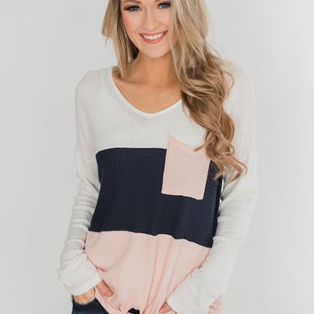 Color Block Waffle Knot Top - Navy & Blush