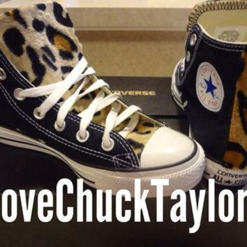 VONR3I Custom Converse Chuck Taylors with Faux Leopard Fur Any SIze/Any Color